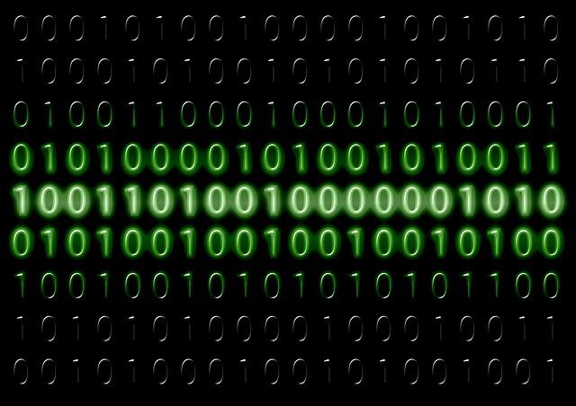 binární kódy zvýrazněné