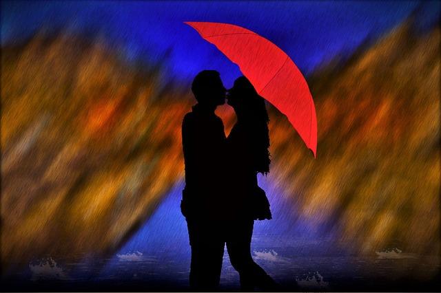 postavy v dešti