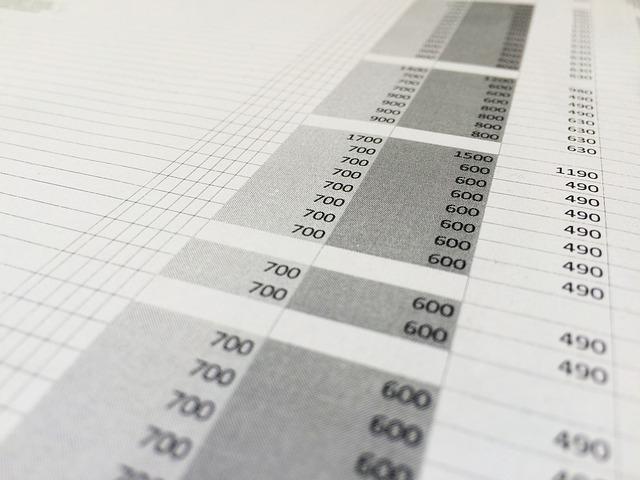 čísla v tabulce